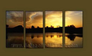 Modern Contemporary oil paintings on Canvas sunrise painting set10125