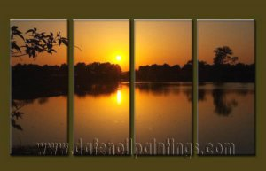 Modern Contemporary oil paintings on Canvas sunrise painting set10128