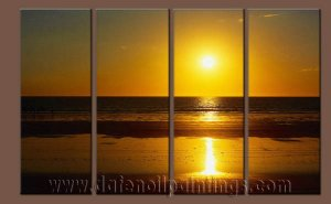 Modern Contemporary oil paintings on Canvas sunrise painting set10133