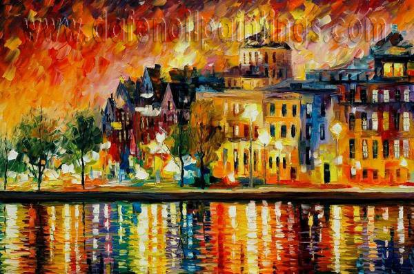 Modern impressionism palette knife oil painting on canvas kp023