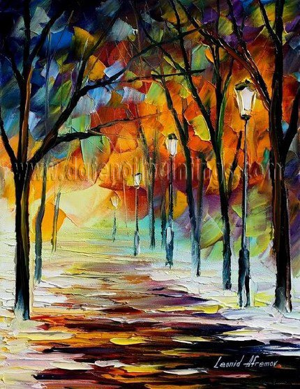 Modern impressionism palette knife oil painting on canvas kp044
