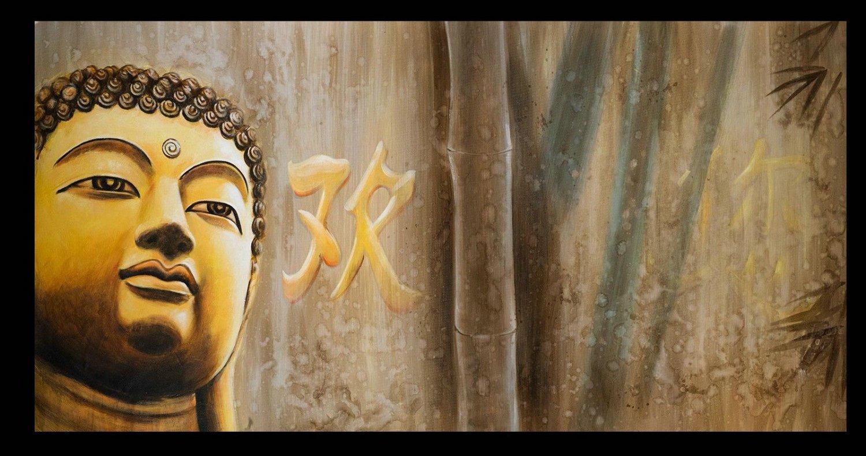 Contemporary zen art buddha oil painting buddha017 for Buddha mural paintings