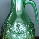 VINTAGE ANTIQUE GREEN DEPRESSION GLASS PITCHER BUBBLE DESIGN
