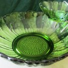 VINTAGE VIKING GREEN GLASS CHIP & DIP NESTED VIKING GORGEOUS