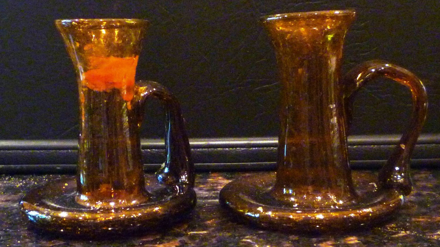 VINTAGE HANDBLOWN AMBER GLASS BUBBLE AND SPECKLE SET OF 2 CANDLEHOLDERS W/HANDLE