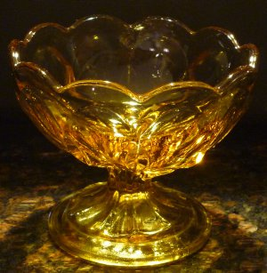VINTAGE AMBER INDIANA GLASS OPEN SUGAR DESERT FOOTED BOWL