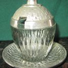ANTIQUE GLASS ALUMINUM CONDIMENT MUSTARD JAM 3 PC SET