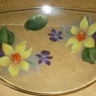 VINTAGE ELEGANT GLASS DISH HANDPAINTED FLOWERS WAVE SHAPED CHANCE GLASS ENGLAND