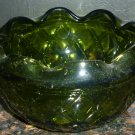 GORGEOUS VINTAGE INDIANA AVOCADO GREEN GLASS QUILTED DIAMOND PATERN