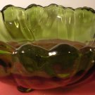 VINTAGE FLINT GREEN GLASS FOOTED FRUIT VASE