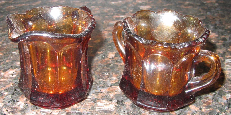 VINTAGE DARK AMBER GLASS MINIATURE INDIVIDUAL CREAM PITCHER & OPEN SUGAR BOWL