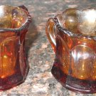 VINTAGE DARK AMBER GLASS MINIATURE INDIVIDUAL CREAM PITCHER & OPEN SUGAR BOWL