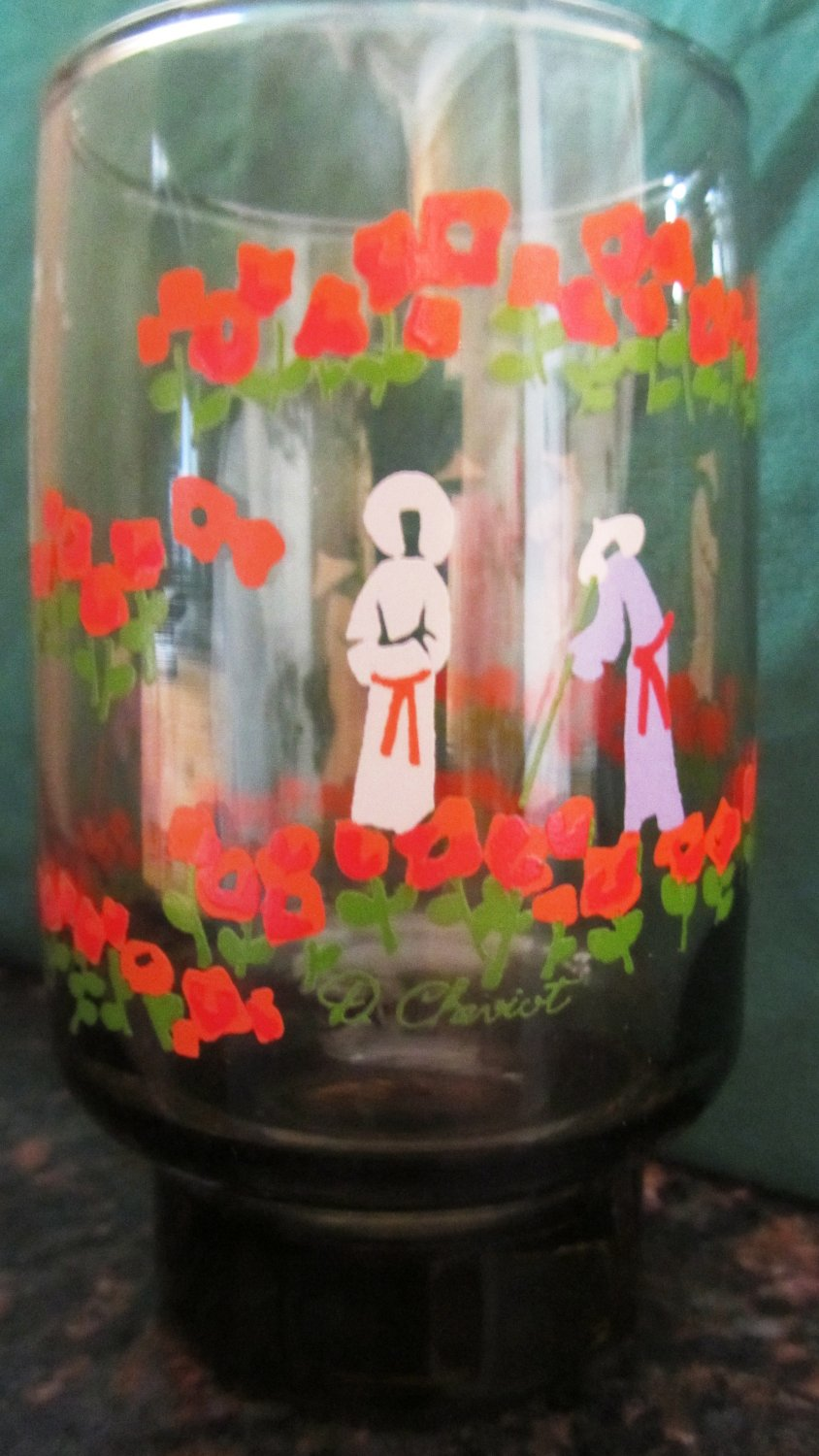 VINTAGE HANDPAINTED SMOKED GLASS SET OF 6 GLASSES D. CHEVIOT FLAMING RED POPPIES