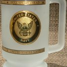 FROSTED GLASS COMMEMORATIVE UNITED STATES NAVY STEIN MUG 'FULL SPEED AHEAD'