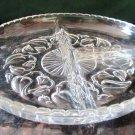 VINTAGE EUROPEAN FINE CUT CRYSTAL PLATTER SNACK CHIP & DIP ROUND PEPPER DESIGN