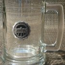 CLEAR GLASS TANKARD MUG SIGILLUM COLLEGI RANDOLPH MACONENSIS VIRGINIA PEWTER