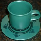 PFALZGRAFF GREEN CUP & SAUCER SOLTICE DESIGN SET OF 11
