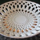 ANTIQUE WHITE PORCELAIN GOLD LATTICE PORCELAIN FRUIT CANDY BOWL PLATTER