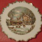 VINTAGE CURRIER & IVES THE FARMER'S HOME WINTER PLATE GOLD SPIKED EDGE