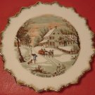VINTAGE CURRIER & IVES THE HOMESTEAD IN WINTER PLATE GOLD SPIKE TRIM 1