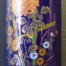 STUNNING VINTAGE COBALT PORCELAIN VASE HANDPAINTED FLOWERS JAPAN