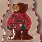 VINTAGE CERAMIC HANDPAINTED ST. NICHOLAS SQUARE BEAR MOLD CANDY DISH CHRISTMAS