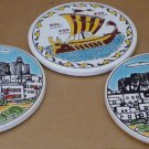 VINTAGE CERAMIC ROUND COASTERS FROM GREECE KNOSSOS LTD KATSIDONIOTIS PATMOS
