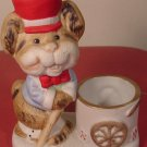 VINTAGE CUTE PORCELAIN CHIPMUNK CANDLEHOLDER TOOTHPICK HOLDER BY JASCO '78