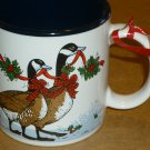 CHARMING CHRISTMAS POCELAIN MUG WITH GEESE BY POPPURI PRESS MADE IN JAPAN