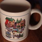 UNIQUE DECORATIVE  VILLAGE COLLECTOR PORCELAIN MUG FOR CHRISTMAS
