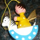 VINTAGE CHRISTMAS ORNAMENT ANGEL IN A ROCKING CHAIR GERMANY