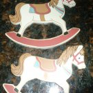 VINTAGE CHRISTMAS ORNAMENT CARDBOARD ROCKING HORSE BY ROC SET OF 2
