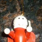 VINTAGE WOODEN CHRISTMAS ORNAMENT GERMANY HAND PAINTED RED ANGEL