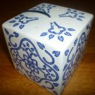 CHARMING WHITE & BLUE PORCELAIN CUBE  BY NANCY LOPEZI POTPOURRI HOLDER POMANDER