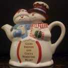 HERSHEY TEAPOT COCOA FIGURAL SNOWMAN GOOD FRIENDS AND COCOA WARM THE HEART X-MAS