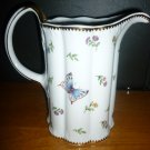 GORGEOUS PORCELAIN FLOWERS BEES DRAGONFLY BUTTERFLY PITCHER BY I. GODINGER