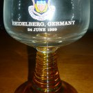 1989 COMMEMORATIVE GERMANY DEFEND PROTECT RIBBED STEM AMBER WINE GLASS SET OF 2