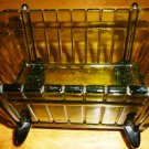 VINTAGE INDIANA BOTTLE GREEN GLASS BASSINET CRADLE TRINKET CANDY DISH BOWL