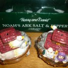HAND PAINTED CERAMIC HARRY AND DAVID' NOAH ARK SALT AND PEPPER SET