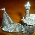 VINTAGE PEWTER MINIATURE FIGURINE SAILBOAT LIGHTHOUSE BY SPOONTIQUES #3014