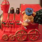 VINTAGE GORGEOUS MUSIC RED PORCELAIN TRAIN PLAYS 'TOYLAND' CHRISTMAS