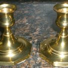 VINTAGE SOLID BRASS CANDLE HOLDERS CAROLINA BRASS SET OF 2 3""