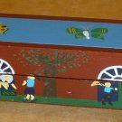 UNIQUE HANDPAINTED BUGS WOODEN PEN & PENCIL ORGANIZER HOLDER CASE WITH A SECRET