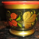 VINTAGE HANDPAINTED HANDCARVED WOODEN CUP FROM RUSSIA KHOHLOMA HOHLOMA DESIGN