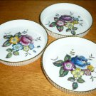 ROYAL WORCESTER VINTAGE FINE BONE CHINA COASTER TRINKET G676 FLOWERS SET OF 3