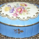 GORGEOUS VINTAGE BA'RIAN GERMANY PORCELAIN TRINKET POWDER BOX VIVID COLOR FLOWER