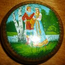 RUSSIAN TRINKET LAQUER RING BOX WALNUT GIRL & BOY FOLKTALE SIGNED