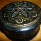 VINTAGE HANDCARVED BEADED WOODEN BLACK TRINKET BOX FROM POLAND