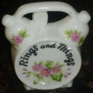 VINTAGE PORCELAIN TRINKET JEWELRY RING BOX MINIATURE WALL POCKET