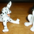 CUTE PORCELAIN FIGURINE DOGS HUMOROUS DOLMATION & PLUTO CARTOON SET OF 2